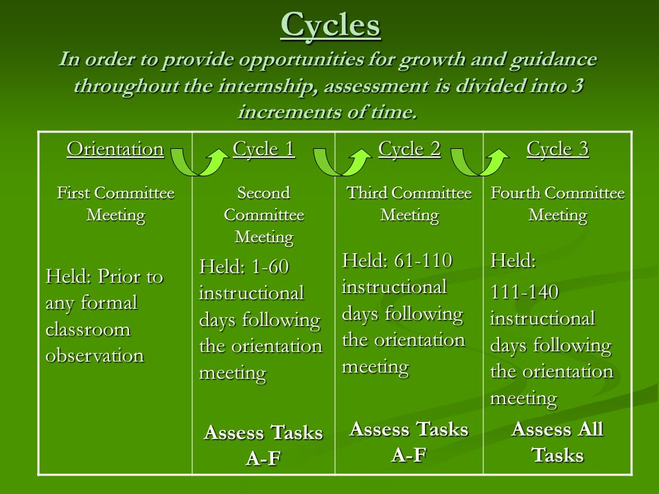 Cycles In order to provide opportunities for growth and guidance throughout the internship, assessment is divided into 3 increments of time.
