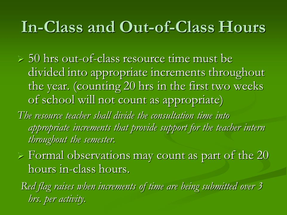 In-Class and Out-of-Class Hours