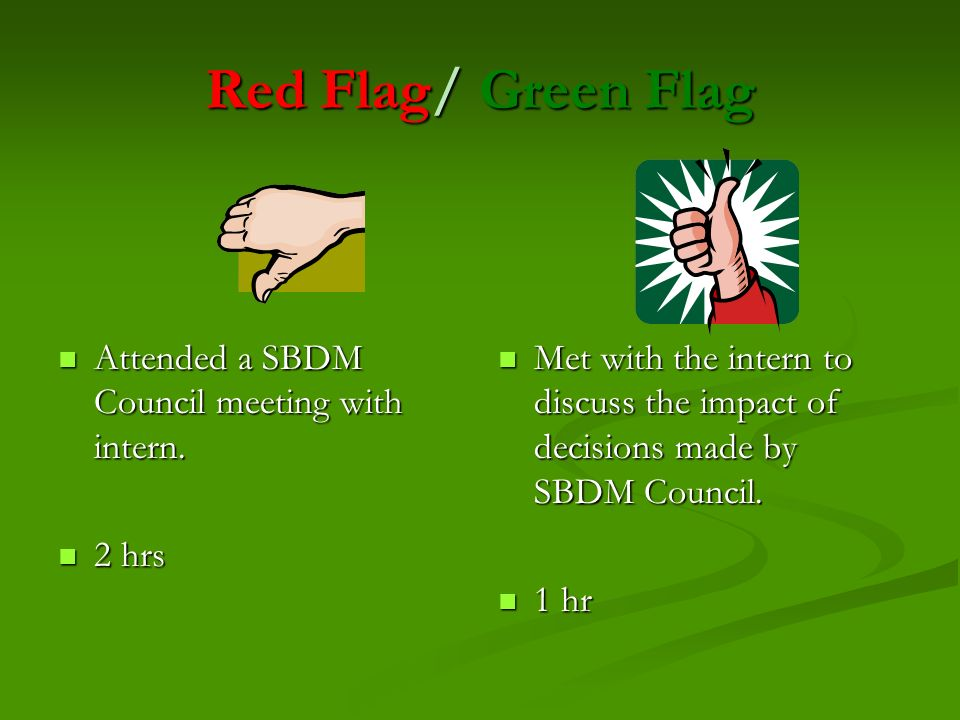 Red Flag/ Green Flag Attended a SBDM Council meeting with intern.