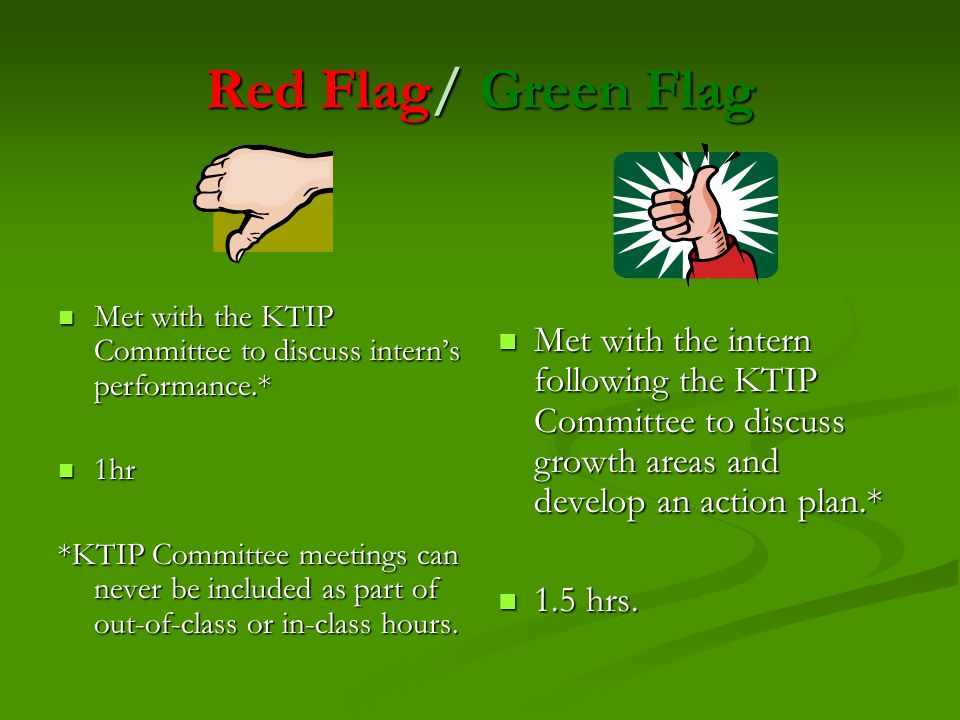 Red Flag/ Green FlagMet with the KTIP Committee to discuss intern's performance.* 1hr.