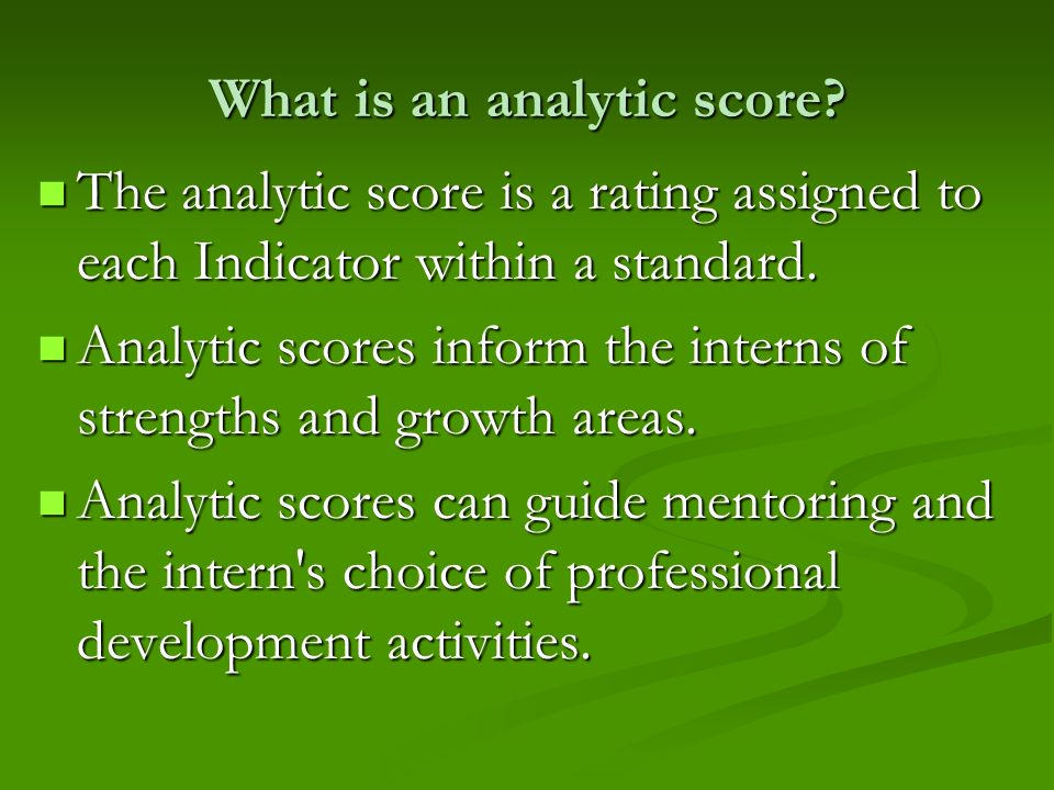 What is an analytic score