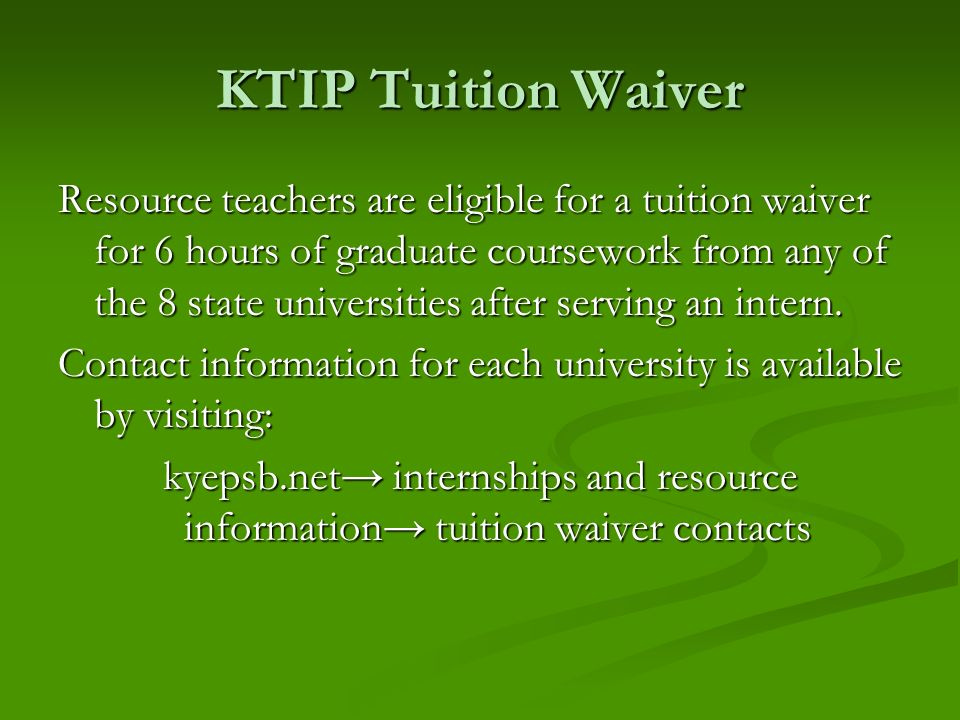 KTIP Tuition Waiver