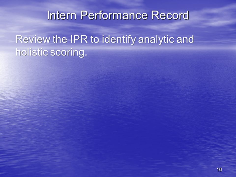 Intern Performance Record