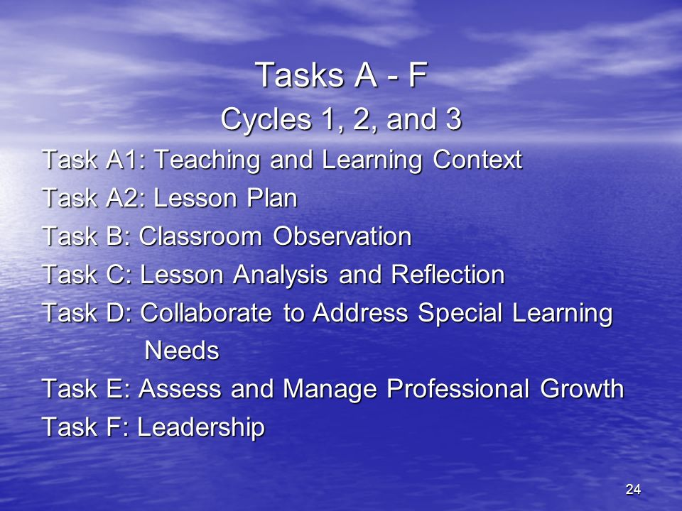 Tasks A - F Cycles 1, 2, and 3 Task A1: Teaching and Learning Context