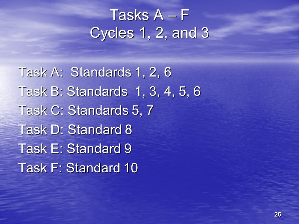 Tasks A – F Cycles 1, 2, and 3 Task A: Standards 1, 2, 6