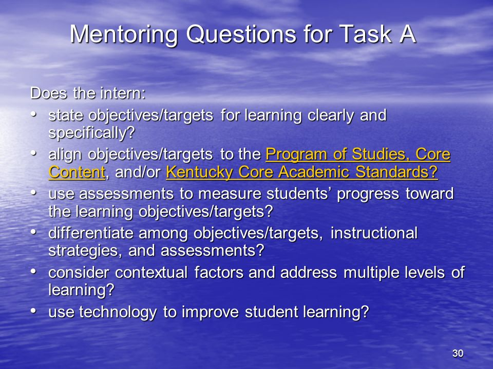 Mentoring Questions for Task A