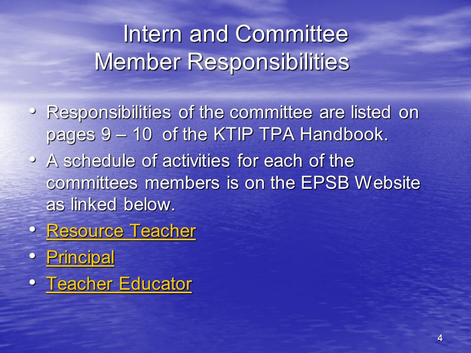 Intern and Committee Member Responsibilities