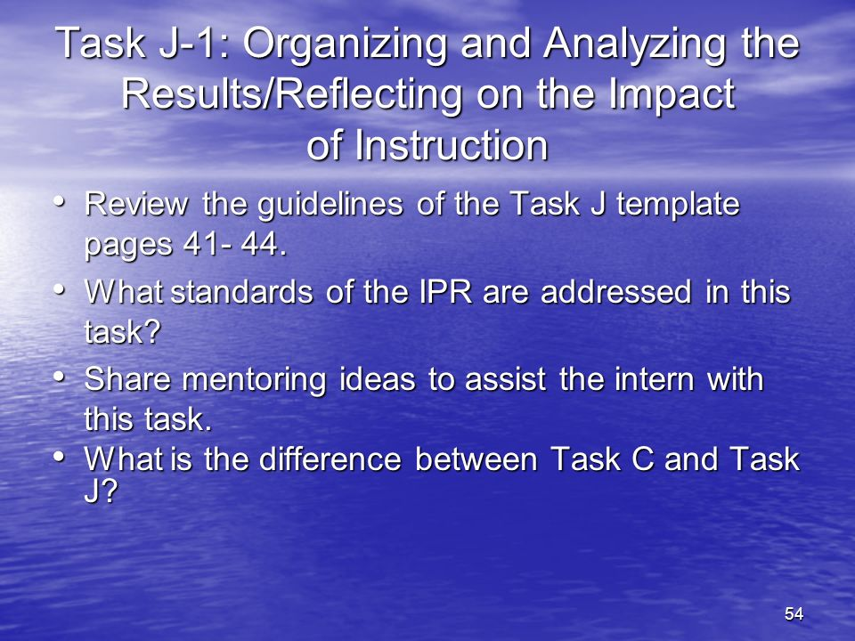 27-Mar-17 Task J-1: Organizing and Analyzing the Results/Reflecting on the Impact of Instruction.