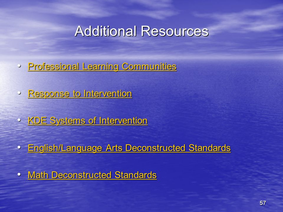 Additional Resources Professional Learning Communities