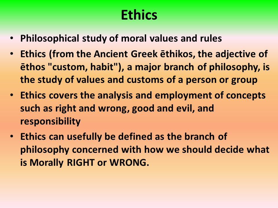 ethic is concerned about the study Applied ethics is often referred to as a component study of the wider  applied ethics normative ethics is concerned with  merely as an ethic of how to.