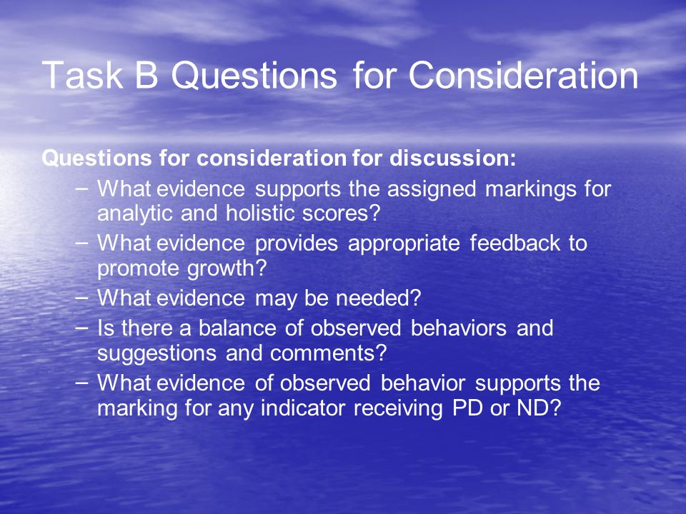 Task B Questions for Consideration