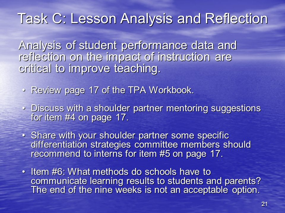 Task C: Lesson Analysis and Reflection