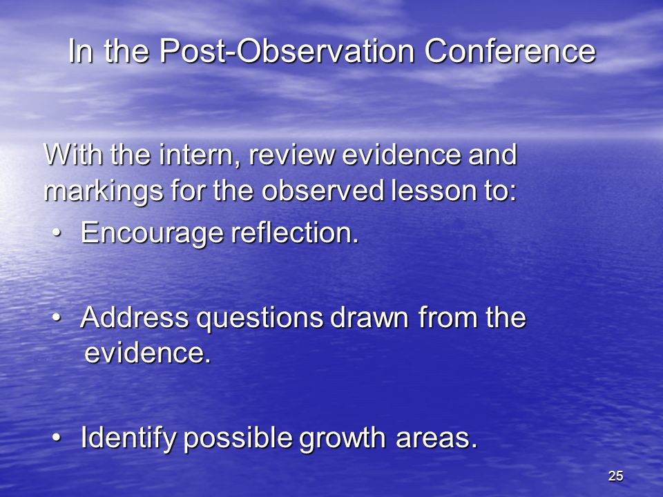In the Post-Observation Conference