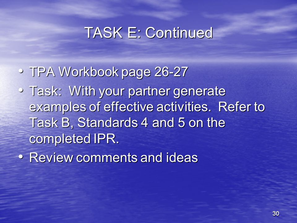 TASK E: Continued TPA Workbook page 26-27