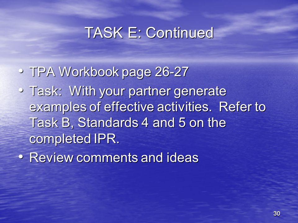 TASK E: Continued TPA Workbook page 26-27