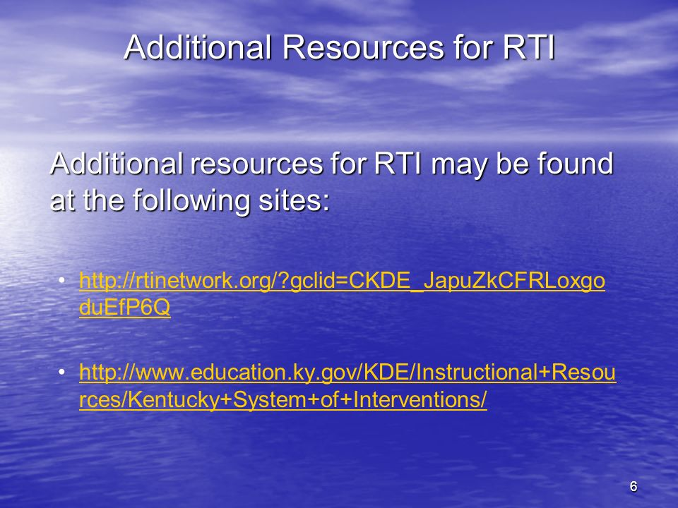 Additional Resources for RTI