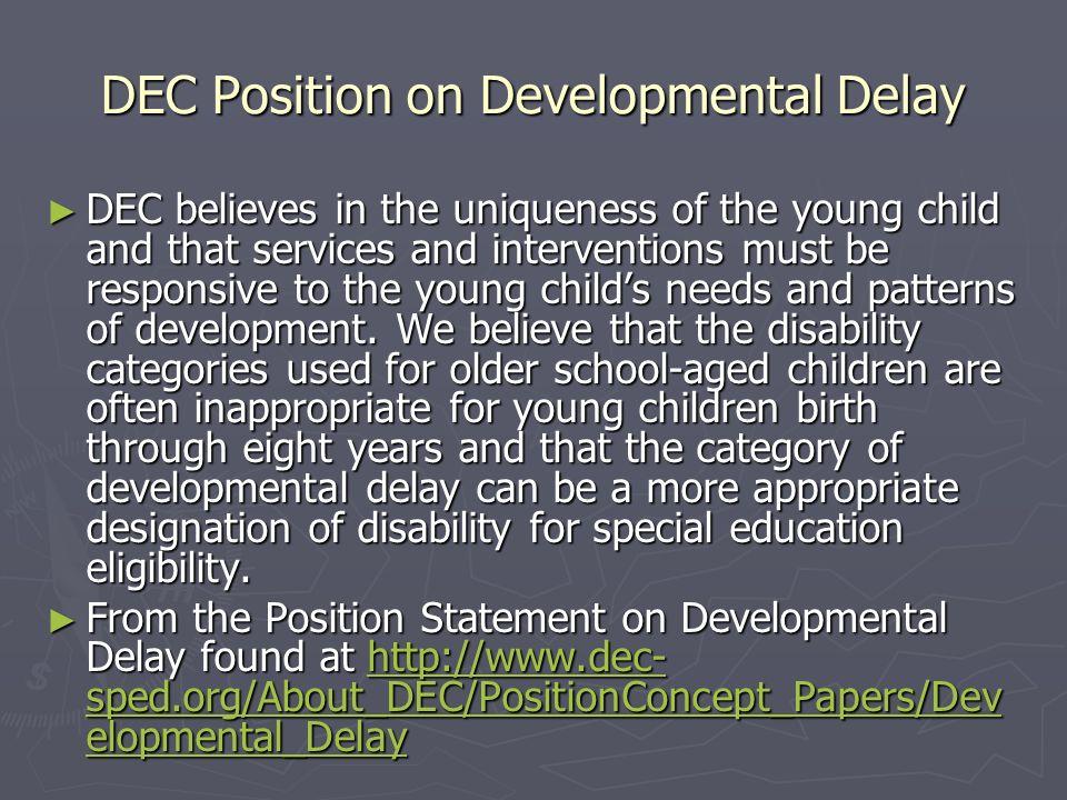 DEC Position on Developmental Delay