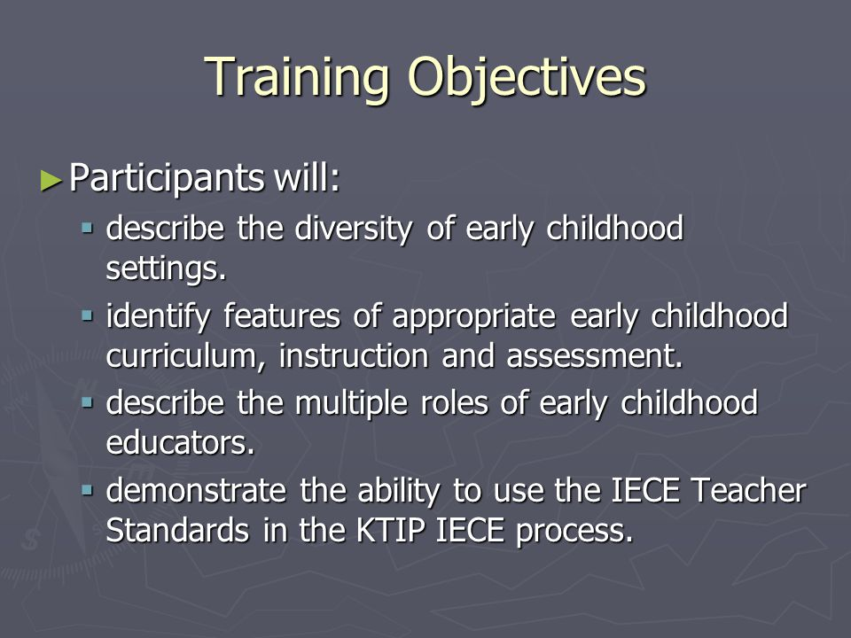 Training Objectives Participants will: