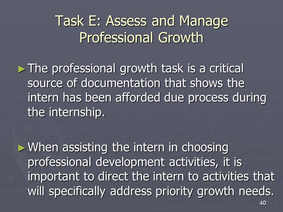 Task E: Assess and Manage Professional Growth