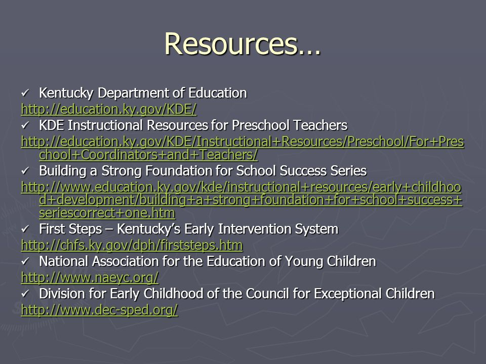 Resources… Kentucky Department of Education
