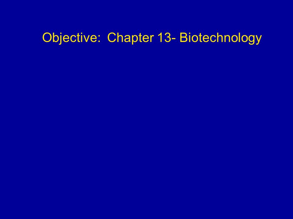 Objective: Chapter 13- Biotechnology