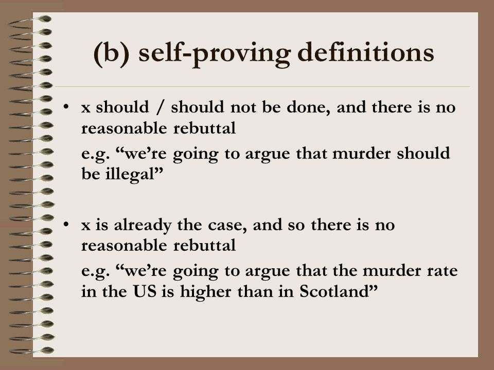 (b) self-proving definitions