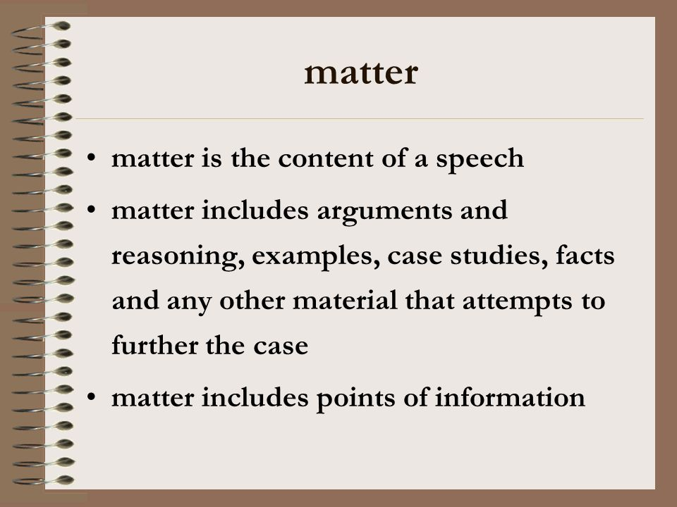 matter matter is the content of a speech