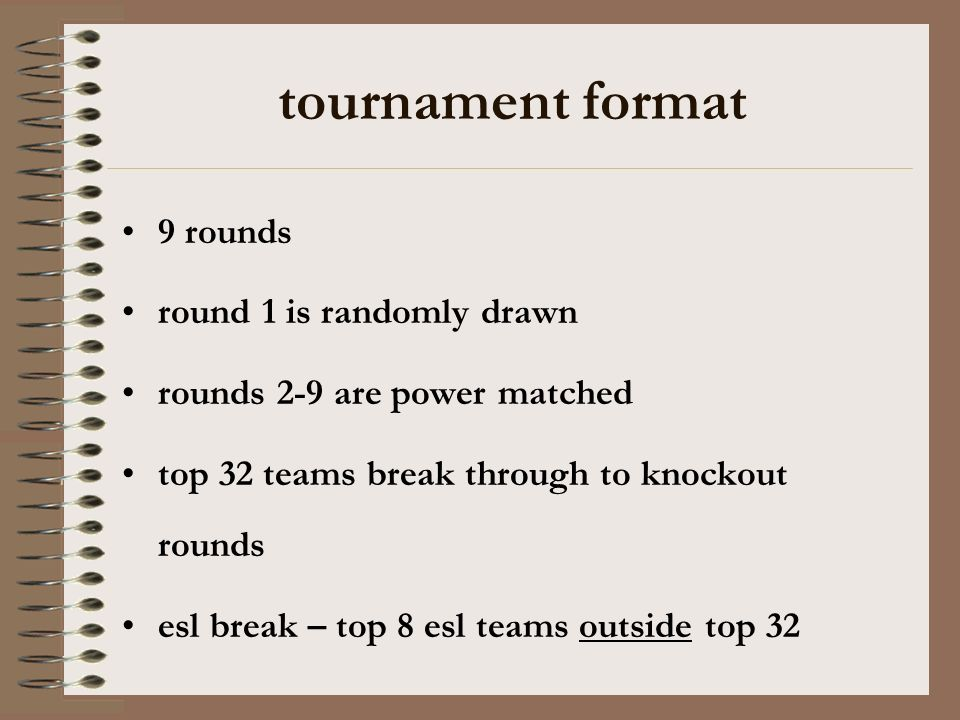 tournament format 9 rounds round 1 is randomly drawn