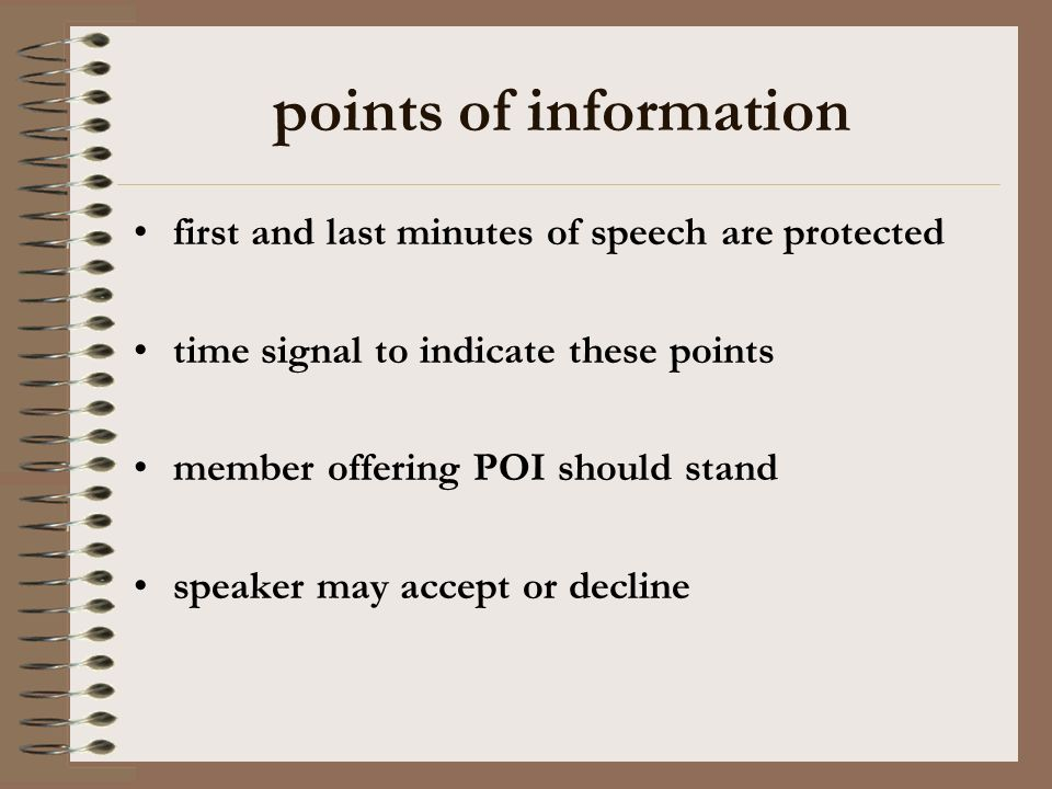 points of information first and last minutes of speech are protected