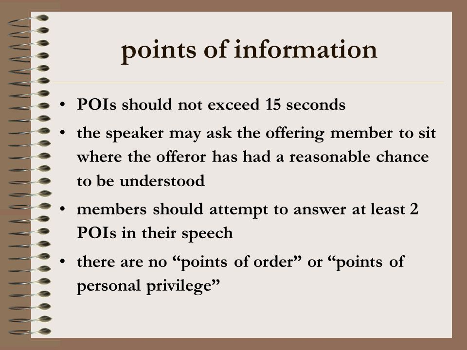 points of information POIs should not exceed 15 seconds