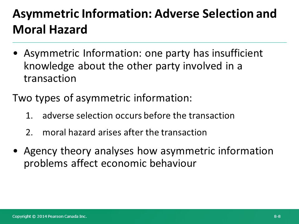 moral hazard asymmetric information and ipo Learn about the differences between moral hazard and adverse selection and  how the two processes create undesired results.