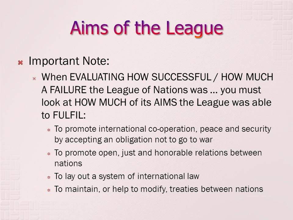 how successful was league of nations The league of nations, 1920 the league of nations was an international organization, headquartered in geneva, switzerland, created after the first.