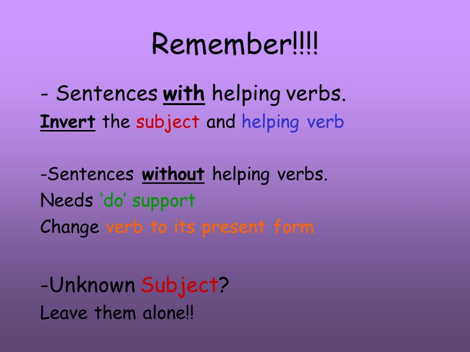 Remember!!!! - Sentences with helping verbs. -Unknown Subject