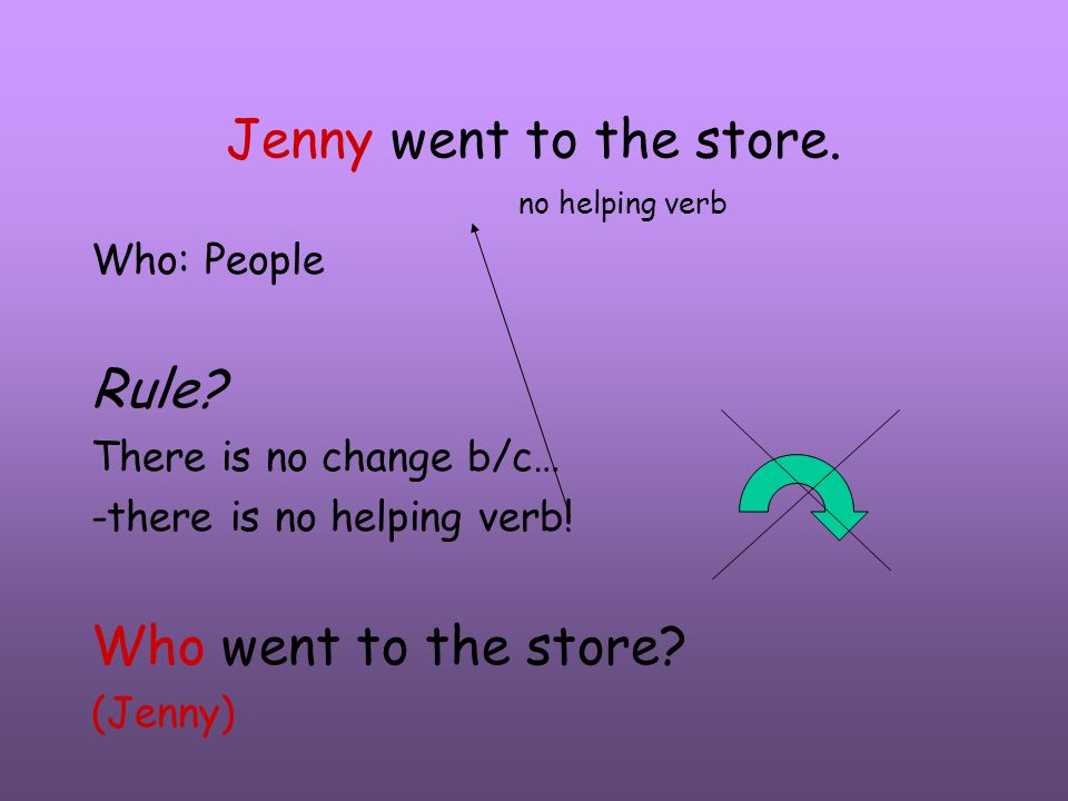 Jenny went to the store. Rule Who went to the store no helping verb