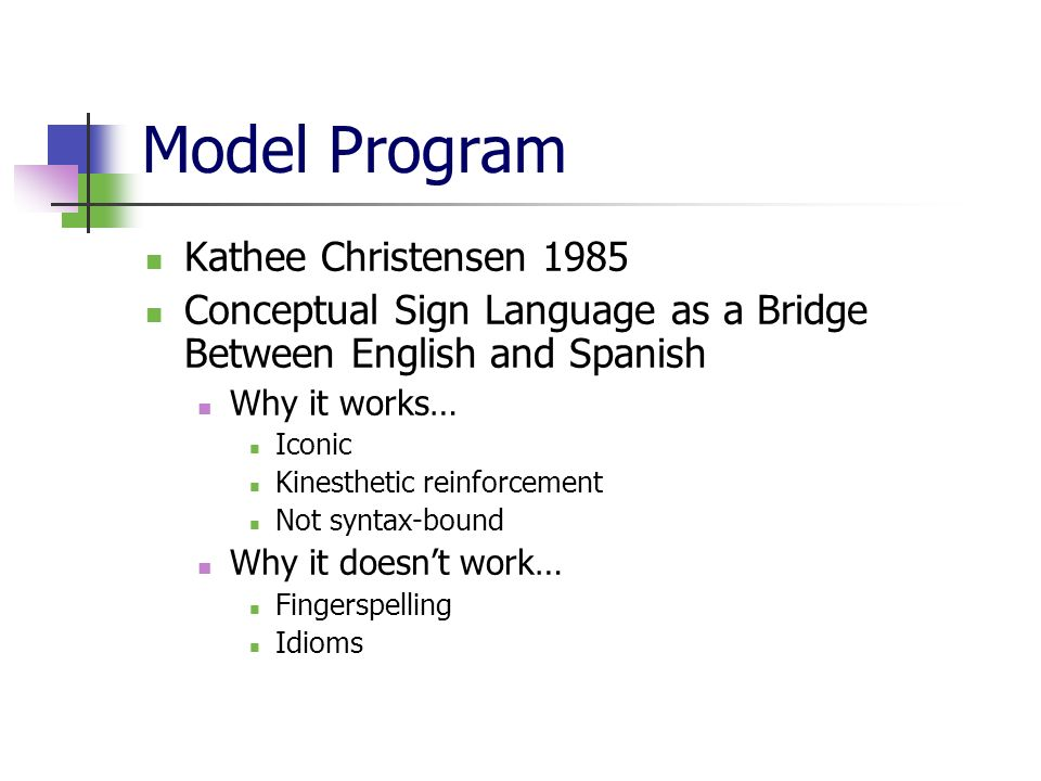 Model Program Kathee Christensen 1985