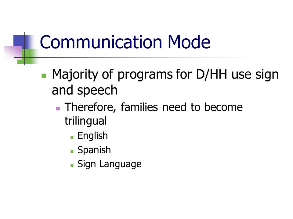 Communication Mode Majority of programs for D/HH use sign and speech