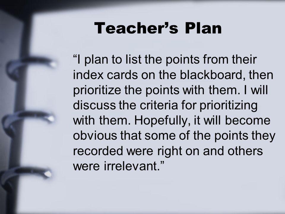 Teacher's Plan
