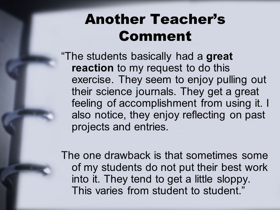 Another Teacher's Comment
