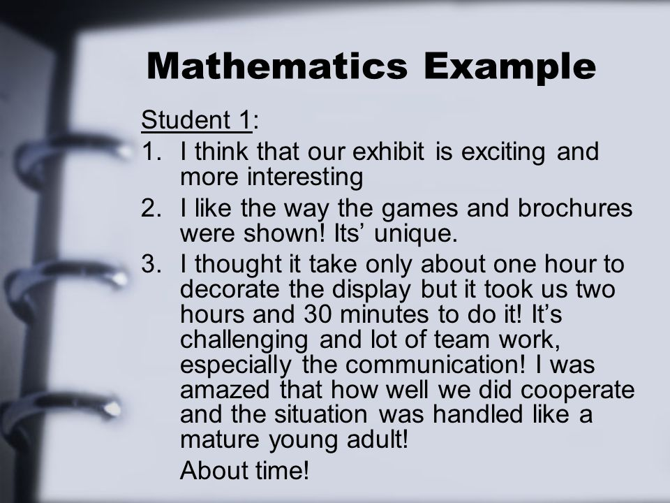 Mathematics Example Student 1: