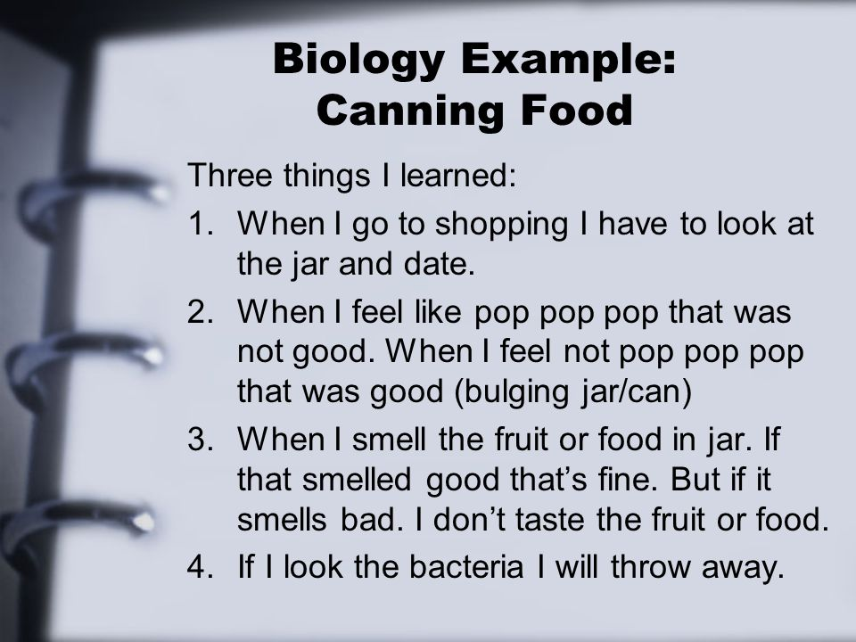 Biology Example: Canning Food