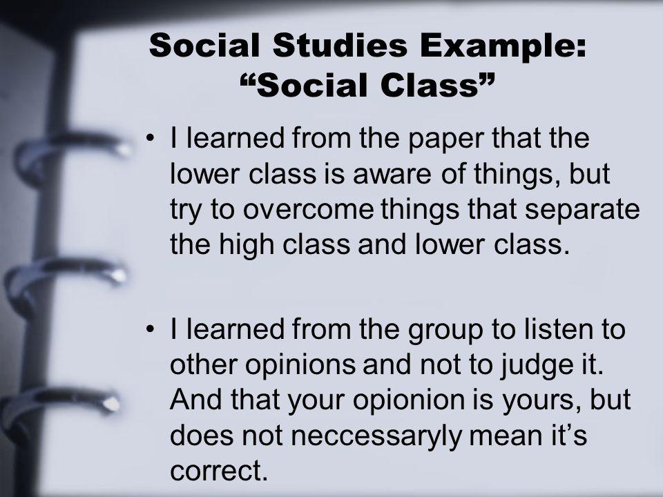 Social Studies Example: Social Class
