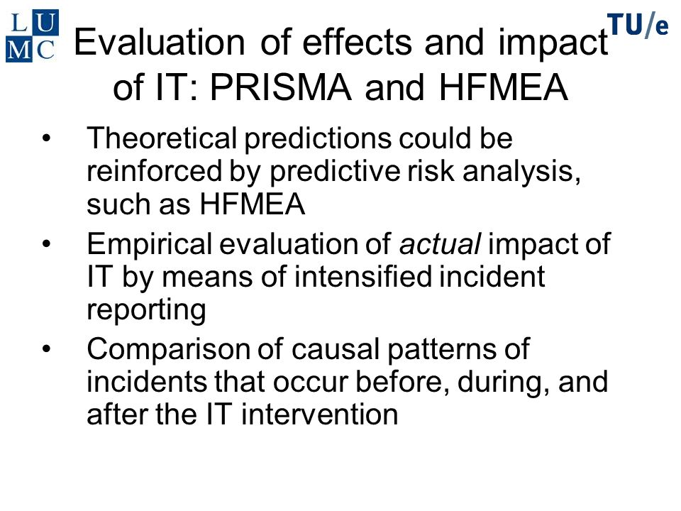 Evaluation of effects and impact of IT: PRISMA and HFMEA