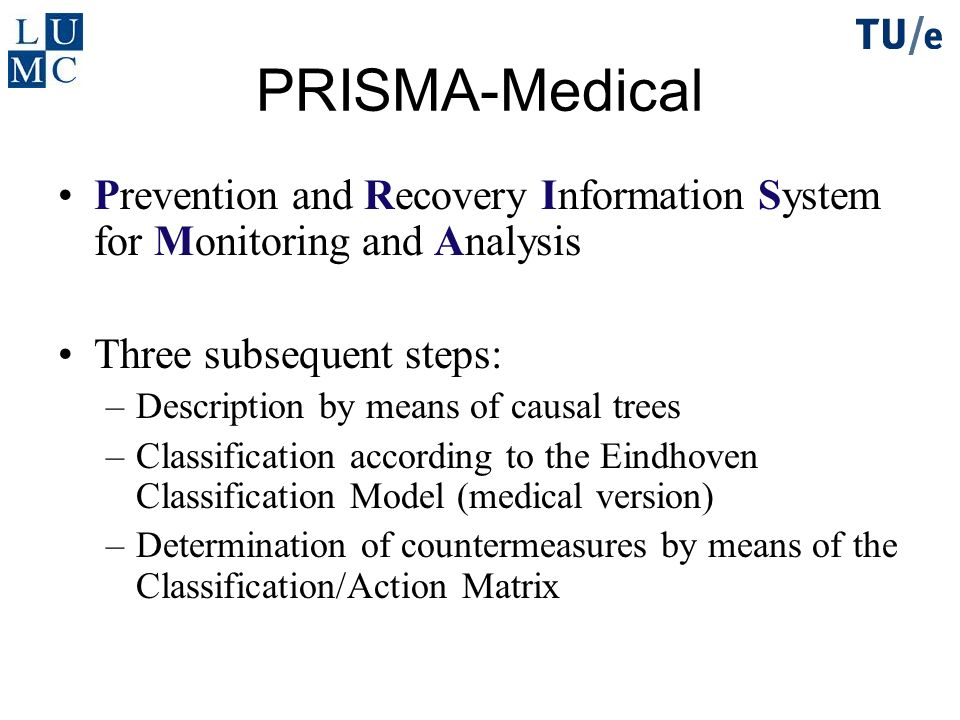 PRISMA-Medical Prevention and Recovery Information System for Monitoring and Analysis. Three subsequent steps: