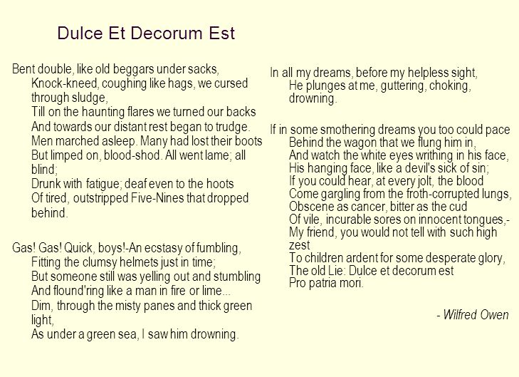 dulce et decorum est war essay Get an answer for 'what would be a strong thesis to use in an essay analyzing the following three poems concerning the atrocities of war: dulce et decorum est by wilfred owen, the end and the beginning by wislawa szymborska, and do not weep, maiden, for war is kind by stephen crane' and find homework help for other dulce et decorum est.