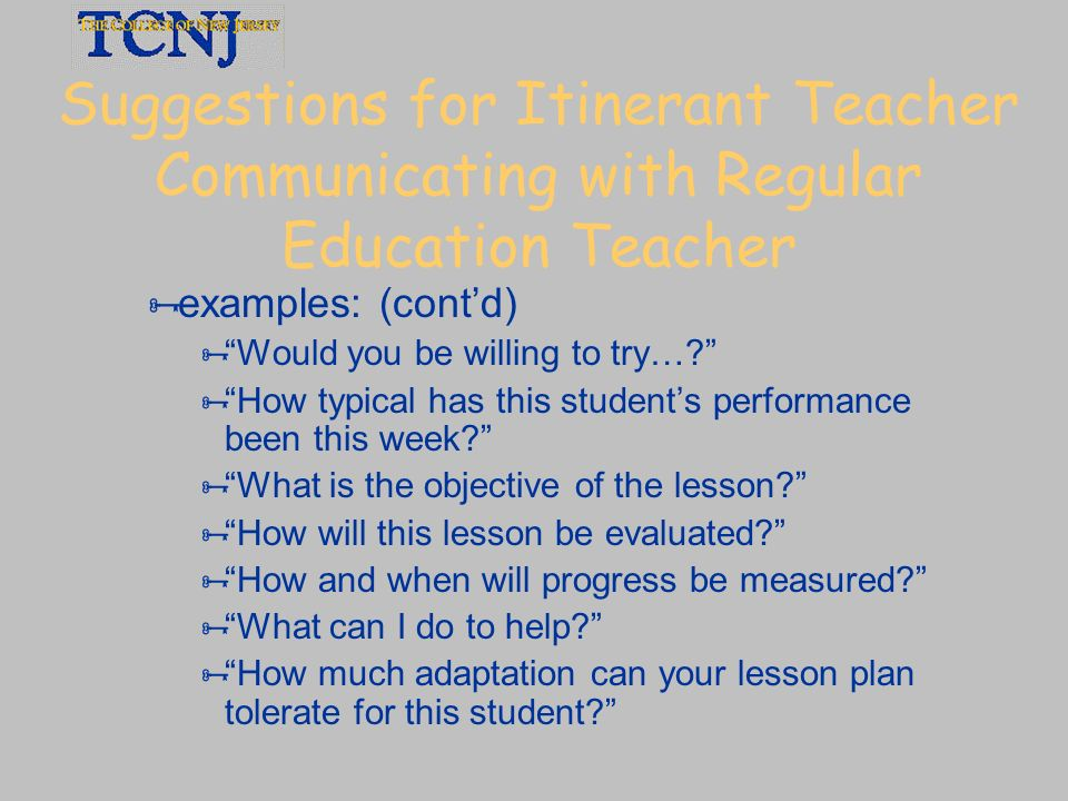 Suggestions for Itinerant Teacher Communicating with Regular Education Teacher