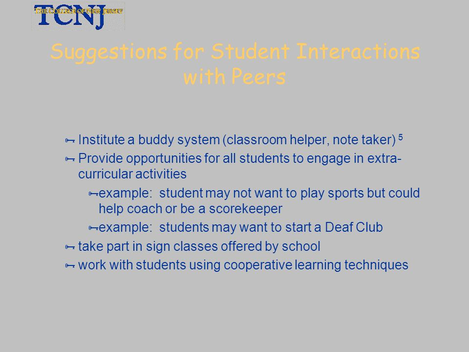 Suggestions for Student Interactions with Peers
