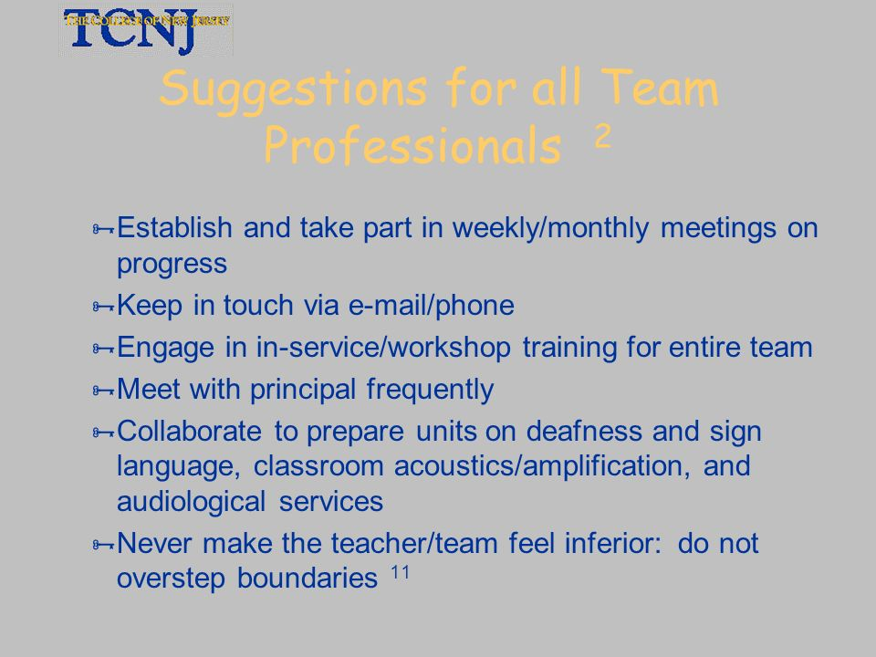 Suggestions for all Team Professionals 2