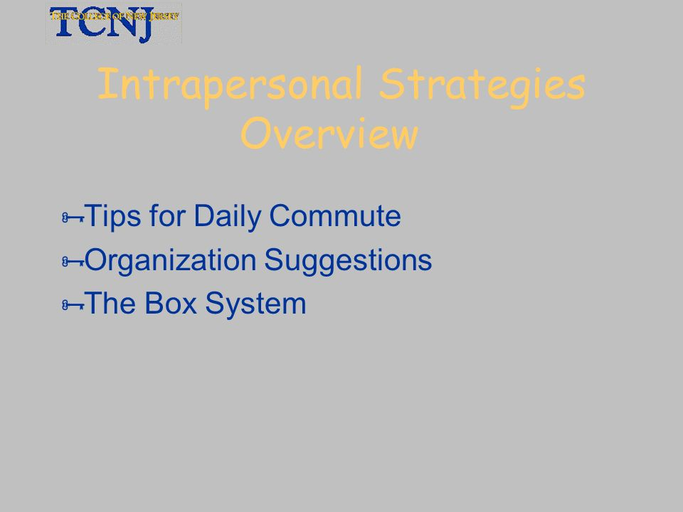 Intrapersonal Strategies Overview
