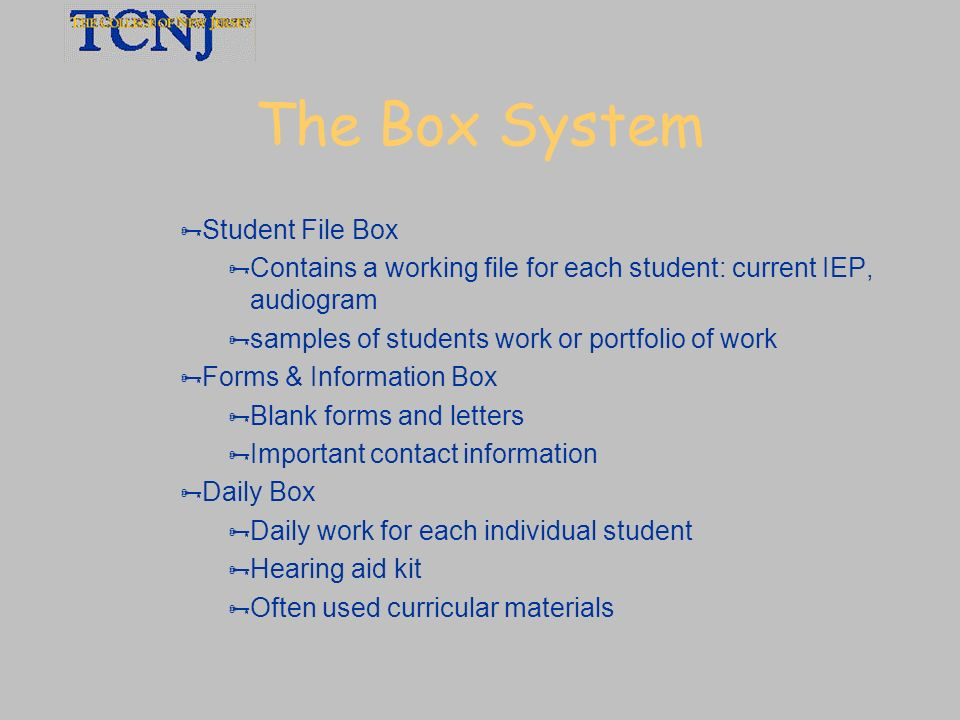 The Box System Student File Box