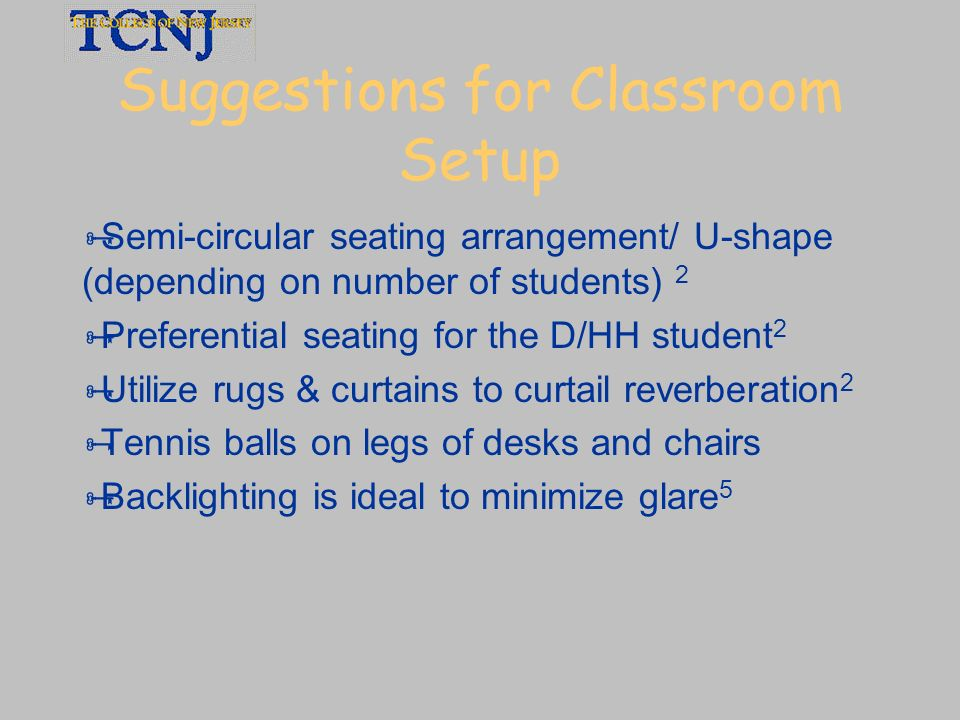 Suggestions for Classroom Setup